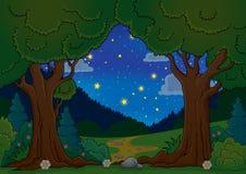 Tema 1 dell'albero di sera Immagine Stock