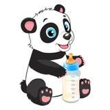Tema dell'alimentazione del bambino Bambino sveglio Panda With Feeding Bottle Immagini Stock