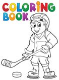 Tema 1 dell'hockey del libro da colorare Immagini Stock