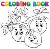 Tema 1 della frutta del libro da colorare Immagine Stock Libera da Diritti