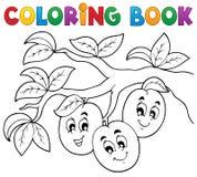 Tema 3 della frutta del libro da colorare Fotografia Stock