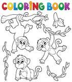 Tema 1 della scimmia del libro da colorare Immagine Stock Libera da Diritti