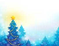 Tema 6 della siluetta dell'albero di Natale Fotografie Stock