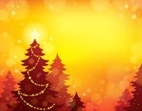 Tema 8 della siluetta dell'albero di Natale Fotografia Stock