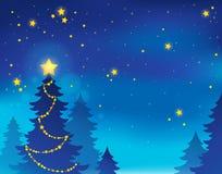Tema 7 della siluetta dell'albero di Natale Fotografia Stock
