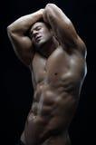 Tema della striscia e del culturista: bello con l'uomo nudo pompato dei muscoli che posa nello studio su un fondo scuro Immagini Stock