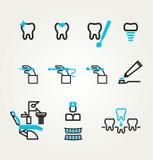 Tema dental de la reflexión de los iconos Foto de archivo libre de regalías