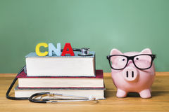 Tema di aiuto di cura certificato di CNA con il porcellino salvadanaio rosa immagine stock libera da diritti