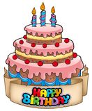 Tema di buon compleanno con la torta Fotografia Stock Libera da Diritti