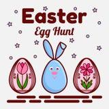 Tema di caccia dell'uovo di Pasqua Un'icona piana di un coniglio sveglio e due hanno dipinto le uova con i fiori Può essere usato Immagini Stock