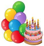 Tema di compleanno con la torta 1 illustrazione di stock