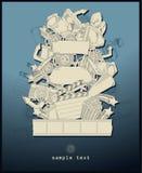 Tema di film del disegno a tratteggio - vettore - azzurro Fotografia Stock