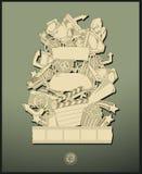 Tema di film del disegno a tratteggio - vettore - verde illustrazione vettoriale