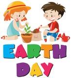 Tema di giorno di terra con i bambini che piantano albero Fotografia Stock Libera da Diritti