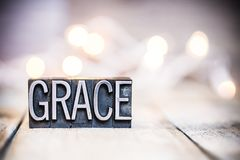 Tema di Grace Concept Vintage Letterpress Type immagini stock