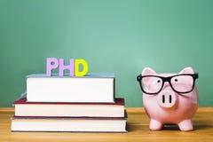 Tema di grado di PhD con i manuali ed il porcellino salvadanaio con i vetri Immagini Stock
