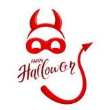 Tema di Halloween con gli elementi del costume del diavolo Immagini Stock