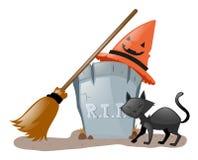 Tema di Halloween con il gatto nero al cimitero Immagine Stock