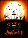 Tema di Halloween con le zucche ed il corvo sul cimitero con la luna Immagini Stock