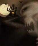 Tema di Halloween con lo scheletro diabolico Fotografia Stock