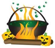 Tema di Halloween di un calderone di ribollimento della strega. Fotografia Stock Libera da Diritti