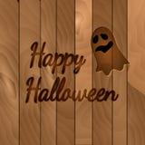 Tema di Halloween, fondo di legno scuro con il fantasma Royalty Illustrazione gratis