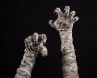 Tema di Halloween: vecchie mani terribili della mummia su un fondo nero Fotografia Stock Libera da Diritti