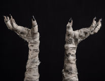 Tema di Halloween: vecchie mani terribili della mummia su un fondo nero Immagine Stock