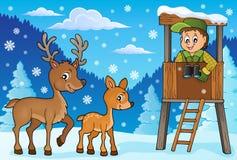 Tema 1 di inverno del silvicoltore royalty illustrazione gratis