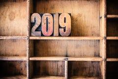 Tema di legno 2019 dello scritto tipografico di concetto Fotografia Stock