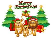 Tema di Natale con i leoni e gli alberi Fotografie Stock Libere da Diritti