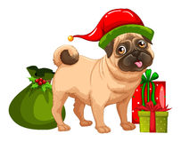 Tema di Natale con le scatole sveglie di regalo e del cane Immagini Stock