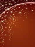Tema di natale con le stelle su una priorità bassa marrone Fotografie Stock