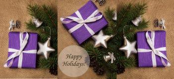 Tema di Natale del collage con le feste felici dell'etichetta Fotografia Stock Libera da Diritti