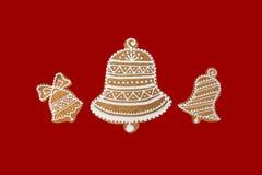 Tema di Natale su fondo rosso Fotografie Stock