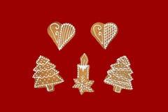 Tema di Natale su fondo rosso Fotografia Stock Libera da Diritti