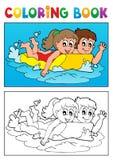 Tema 3 di nuoto del libro da colorare Fotografia Stock Libera da Diritti