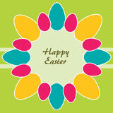 Tema di Pasqua. Cerchio delle uova di Pasqua Colorate Fotografia Stock