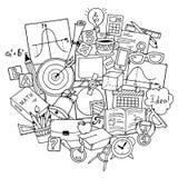 Tema di scienza di matematica Modello disegnato a mano circa la scuola ed imparare nello stile di scarabocchio Fondo del giorno d royalty illustrazione gratis