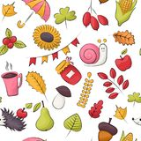 Tema di stagione di autunno Reticolo senza giunte La ripetizione del fondo per il tessuto, avvolgentesi, wallpaper illustrazione vettoriale