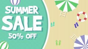 Tema di vendita di estate con l'animazione della palla illustrazione di stock