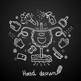 Tema disegnato a mano di pulizia su fondo nero Progettazione di vettore del grembiule Immagini Stock