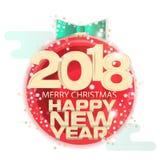 Tema do ano novo do cartaz ou do cartão Escrito na bandeira Fotografia de Stock Royalty Free