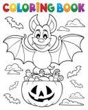 Tema 1 do bastão de Dia das Bruxas do livro para colorir ilustração stock