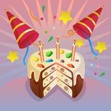 Tema do cartão de aniversário da celebração com galdéria bonito Fotografia de Stock