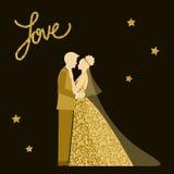 Tema do casamento Noiva e noivo Textura dourada do brilho da faísca Imagens de Stock Royalty Free