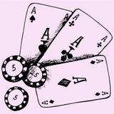 Tema do casino que joga cartões do pôquer das microplaquetas Fotos de Stock Royalty Free