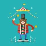 Tema do circo do baterista do urso, ilustração do vetor Fotografia de Stock Royalty Free