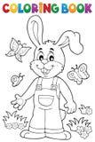 Tema 6 do coelho da Páscoa do livro para colorir Imagem de Stock Royalty Free