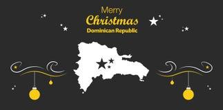 Tema do Feliz Natal com o mapa do Dominican Republi ilustração stock